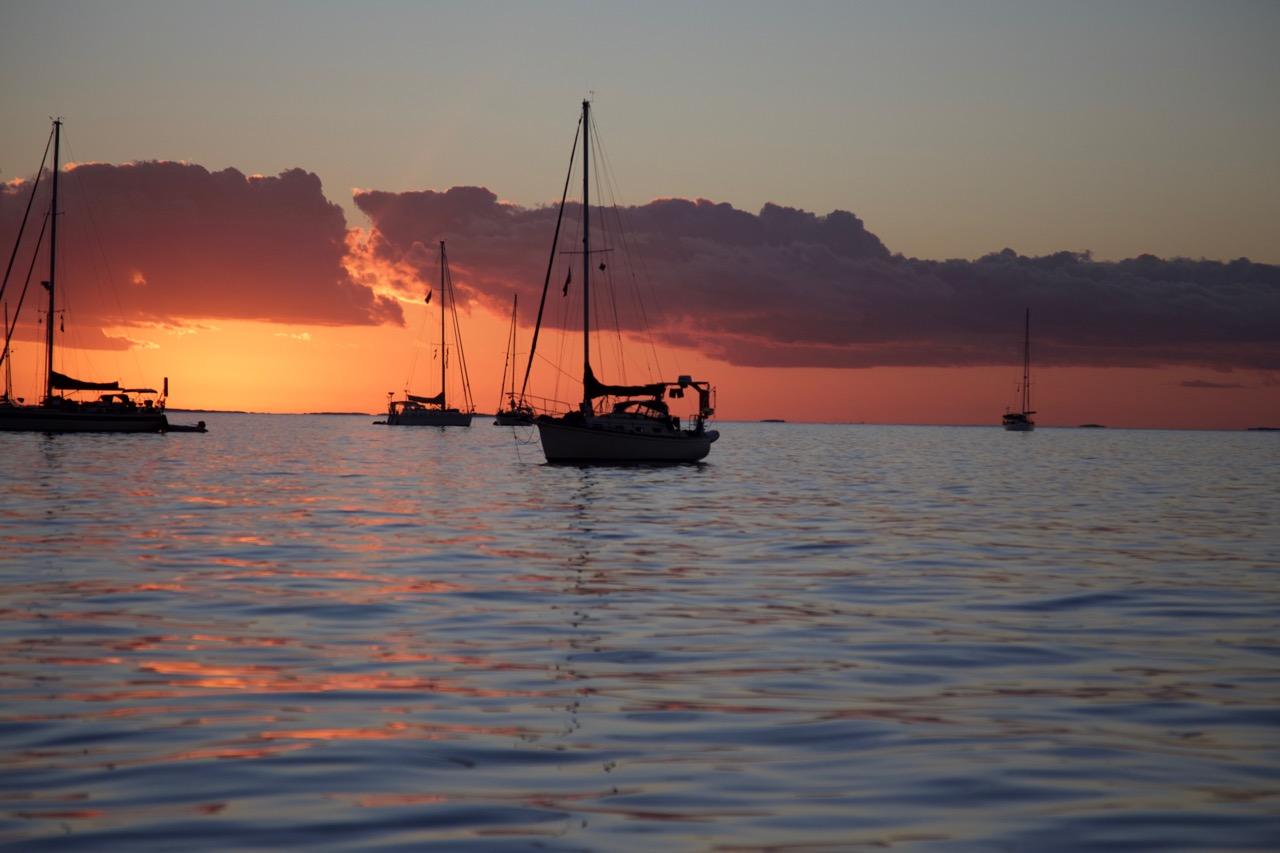 Boat at anchor sunrise